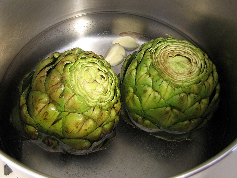800px Artichokes being cooked Superfood Sunday: artichokes