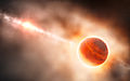 Artist's impression of a gas giant planet forming in the disc around the young star HD 100546.jpg