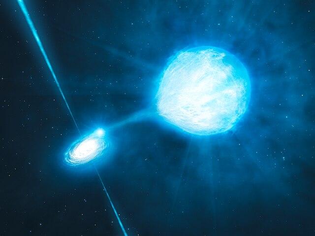Чёрная дыра NGC 300 X-1 в представлении художника. Иллюстрация ESO.