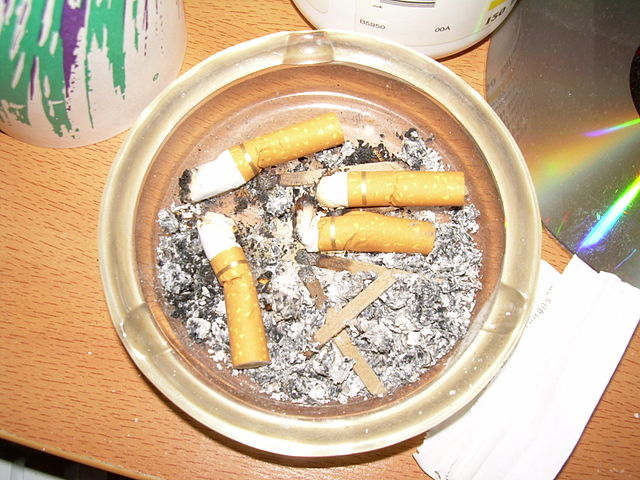 Ashtray with cigarette butts, From WikimediaPhotos