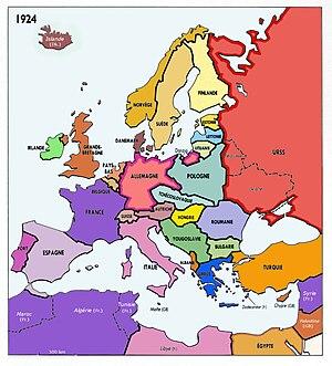 Carta dell'Europa nel 1914 (sopra) e nel 1924 (sotto).