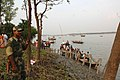 At the river Ichamati the border of India and Bangladesh where the devotees from both the side meeting to celebrate the immersion of the idol Goddess Durga on the conclusion of the five days Durga Puja festival at taki in.jpg
