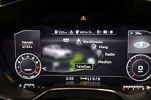 Electronic instrument cluster - Multi Media Interface-Menu on Audi virtual cockpit, Audi TT Mk3