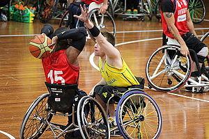 Michael Hartnett (basketball) - Michael Hartnett of Australia (middle) and Ade Oregembe of Great Britain (left). Australia vs Great Britain Men's National Wheelchair Basketball Team, 19 July 2012, Sydney's Olympic Park.