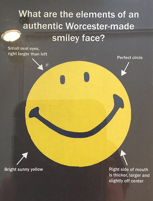 What are the elements of an authentic Worcester-made smiley face?