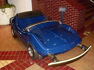 Autopia - A 1967-era Corvette Stingray-style Autopia car on display in the Disneyland Hotel.