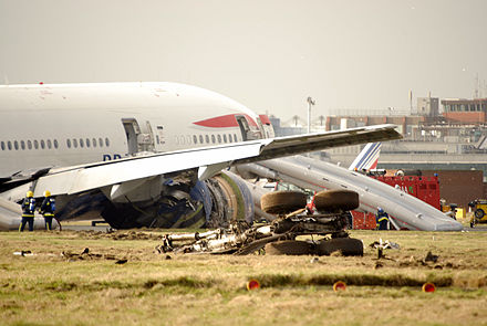 British Airways Flight 38 which crash landed just short of the runway on 17 January 2008 BA38 Crash.jpg