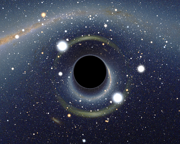 Simulated view of a black hole (center) in front of the Large Magellanic Cloud. Note the gravitational lensing effect, which produces two enlarged but highly distorted views of the Cloud. Across the top, the Milky Way disk appears distorted into an arc. - Black hole