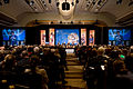 Background, from left, USAID Administrator Rajiv Shah; U.S. Secretary of Defense Robert Gates; Secretary of State Hillary Rodham Clinton; moderator Frank Sesno, director of the School of Media and Public Affairs 100928-D-JB366-105.jpg