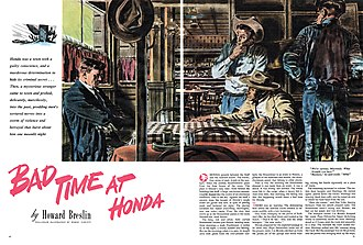 "Bad Day at Black Rock - Robert Fawcett illustrated The American Magazine printing of ""Bad Time at Honda"", a 1947 short story by Howard Breslin that was adapted for the film Bad Day at Black Rock"