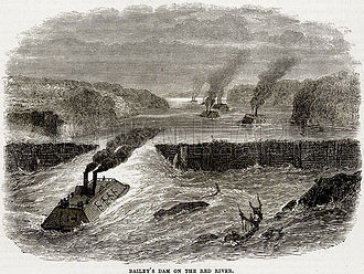 Old Abe - Bailey's Dam on the Red River. Illustration from Cassell's History of the United States by Edward Ollier (c. 1900).