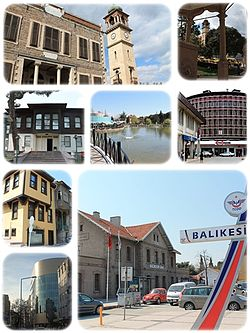 A collage o Balıkesir Ceety Centre, centre o the Balıkesir Province. Tap left:Balıkesir Clock Touer, Tap richt:View o Clock Touer frae Zagros Pasa Squerr, Middle left:Kuvayi Milliye Museum, Center:Balikesir Ataturk Pairk, Middle richt:AHP Squerr, Bottom upper left:Ottoman style airchitectur hooses in Mimarsi aurie, Bottom lawer left:Ozmerkez heidquarter in Kuymcular aurie, Bottom richt:Balikesir Railroad Station