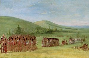 "Indigenous North American stickball - ""Ball-play Dance"" by George Catlin, 1834.  Before the match, players and their supporters passed the night in singing, dancing, and soliciting divine support."