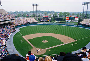 1991 Major League Baseball season - The Baltimore Orioles at play during a 1991 home game at Memorial Stadium.