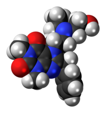Space-filling model of the bamifylline molecule