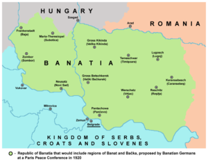 Banat Republic - Republic of Banatia, as proposed by Banatian Germans in 1920