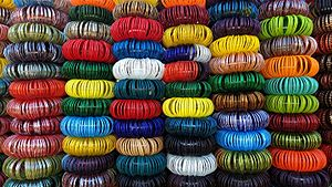 Bangle - Bangles made of glass stacked for sale in Jodhpur, India