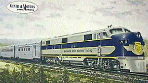 Bangor and Aroostook Railroad - The railroad's Aroostook Flyer passenger train, c. 1950s