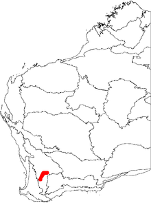 A map of the biogeographic regions of Western Australia, showing the range of Banksia cuneata. The map shows a continuous distribution in the southern half of the Avon Wheatbelt, shaped somewhat like an upright boomerang.