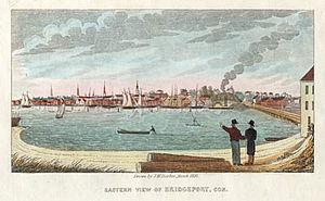 History of Bridgeport, Connecticut - Eastern View of Bridgeport, Con. by John Warner Barber (1837)