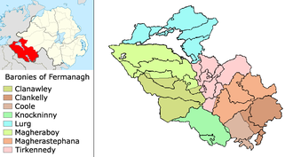 County Fermanagh - Baronies of County Fermanagh within Northern Ireland with civil parish boundaries