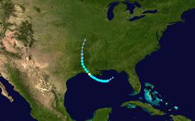 Karte mit der Spur und der Intensität des Sturms nach der Saffir-Simpson-Skala