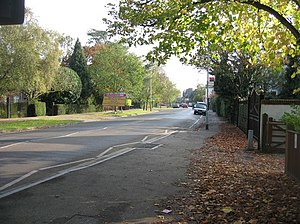 Barton Road, Cambridge - View towards Cambridge along Barton Road.