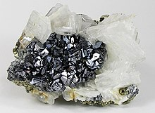 Galena with baryte and pyrite