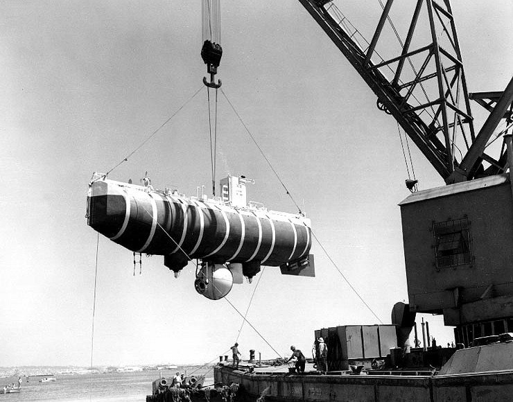 Bathyscaphe Trieste hoisted