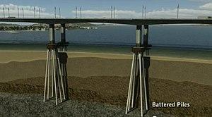 Batter (walls) - Image: Battered Piles