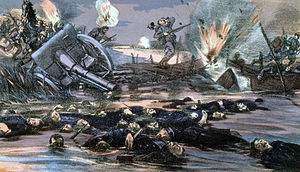 Battle of the Yser - Depiction of German soldiers fleeing from Belgian forces at the Battle of the Yser.