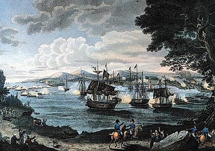 Prevost's defeat at Plattsburgh led him to call off the invasion of New York. Battleofpburg.jpg