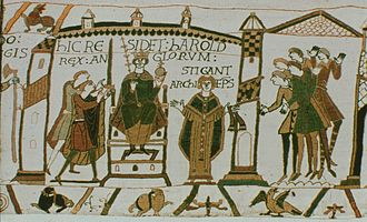 Titulus (inscription) - Image: Bayeux Tapestry (Harold)
