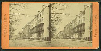 Beacon Street - Stereoscopic image of Beacon Street by Joseph L. Bates