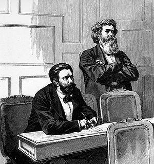 August Bebel (1840-1913) und Friedrich Wilhelm Fritzsche (1825-1905) als Reichstagsabgeordnete während der Rede von Otto von Bismarck zum Sozialistengesetz.