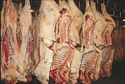 Inspected carcasses tagged by the USDA