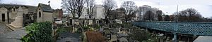 Montmartre Cemetery - The Montmartre Cemetery with the Rue Caulaincourt viaduct passing through it