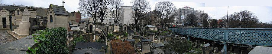 Pohled na hřbitov Montmartre v zimě