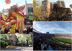 "Clockwise from top: Chinese New Year celebrations in Chinatown, Barracas de Belgrano, a typical residential street in Belgrano ""R"" and River Plate Stadium."