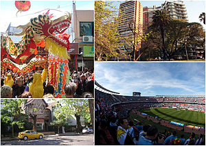 "Belgrano, Buenos Aires - Clockwise from top: Chinese New Year celebrations in Chinatown, Barracas de Belgrano, a typical residential street in Belgrano ""R"" and River Plate Stadium."