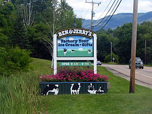 Waterbury, Vermont - A sign leading to Ben & Jerry's Ice Cream factory in Waterbury