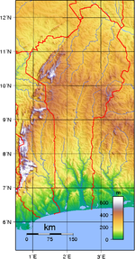 Topographic map of Benin