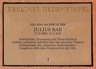 Julius Bab - Memorial plaque to Julius Bab in Berlin