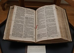 "The Master's Seminary - King James Bible, 1611, ""He"" Bible.  A typographical error in Ruth 3:15 had the text read, ""and he went into the city"" instead of the proper ""and she went into the city."" The error was corrected in a subsequent printing in 1611."