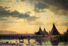 Bierstadt Albert View of Chimney Rock Ogalillalh Sioux Village in Foreground.jpg