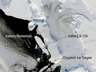 Iceberg B-15 - Iceberg B-15A drifting toward the Drygalski Ice Tongue before the collision, 2 January 2005 (NASA)