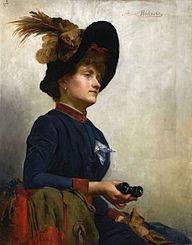 Portrait of a lady with binoculars.