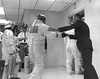 William Anders - Anders shakes hands with Buzz Aldrin and wishes him well on his Apollo 11 journey to the Moon.