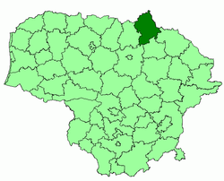 Location of Biržai district municipality within Lithuania
