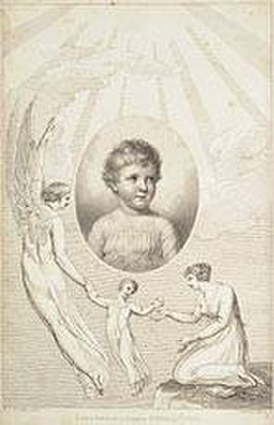 Benjamin Heath Malkin - William Blake's frontispiece to A Father's Memoirs of his Child (1806), combining a portrait with a symbolic image of the child's soul departing the earth